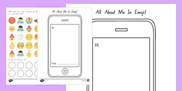 All About Me Emojis Activity Sheet - New Zealand Back to School, emojis, all about me, cell phone, mobile phone, all about me, moji