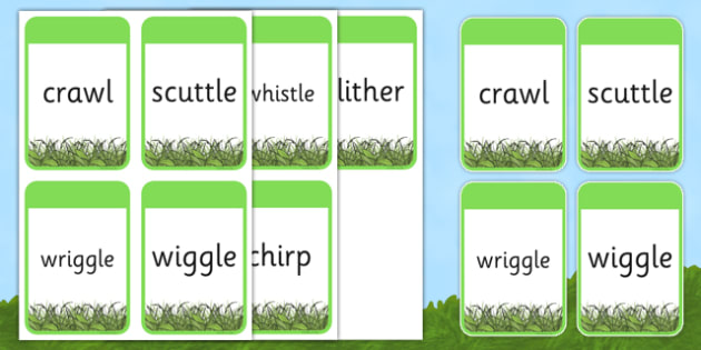 Minibeasts Themed Verb Action Cards - verb action cards, verb, action, activity, cards, minibeasts