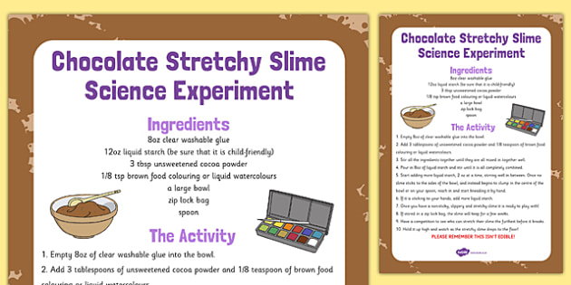 Chocolate Stretchy Slime Science Experiment - chocolate, stretchy, slime, science, experiment