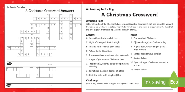 A Christmas Crossword Activity Sheet - Amazing Fact Of The Day, activity sheets, powerpoint, starter, morning activity, December, Christmas