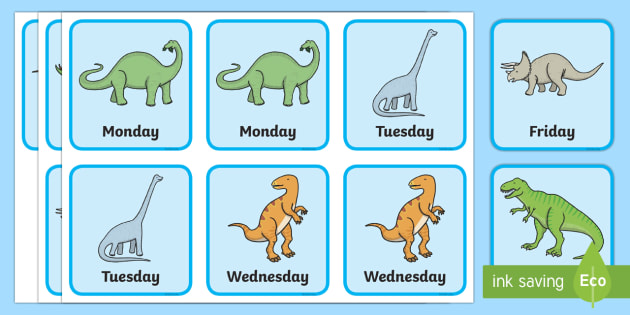 Dinosaur Days of the Week Snap Game - Measurement, measures, snap, very hungry caterpillar, days of the week, days, language related to da