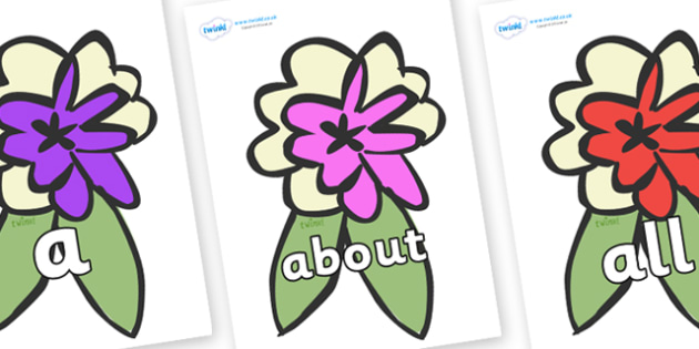 100 High Frequency Words on Corsages - High frequency words, hfw, DfES Letters and Sounds, Letters and Sounds, display words