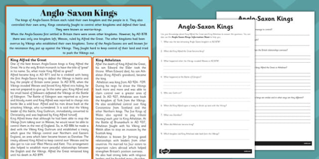 Anglo-Saxon Kings Reading Comprehension Activity - comprehension