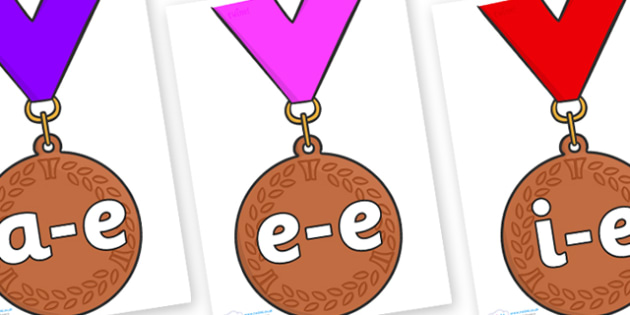 Modifying E Letters on Bronze Medal - Modifying E, letters, modify, Phase 5, Phase five, alternative spellings for phonemes, DfES letters and Sounds