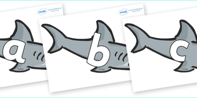 Phoneme Set on Sharks - Phoneme set, phonemes, phoneme, Letters and Sounds, DfES, display, Phase 1, Phase 2, Phase 3, Phase 5, Foundation, Literacy
