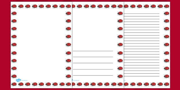 Ladybug Portrait Page Borders - ladybug, page borders, borders