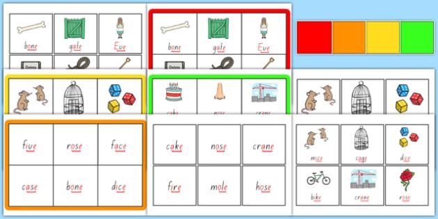 Magic e Bingo Game - australia, game, bingo, 'e', letter e, magic, activity, literacy, games, matching, cards, letter, recognition, silent e