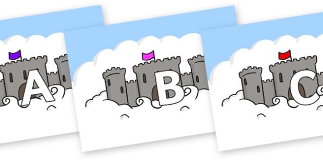 A-Z Alphabet on Castles - A-Z, A4, display, Alphabet frieze, Display letters, Letter posters, A-Z letters, Alphabet flashcards