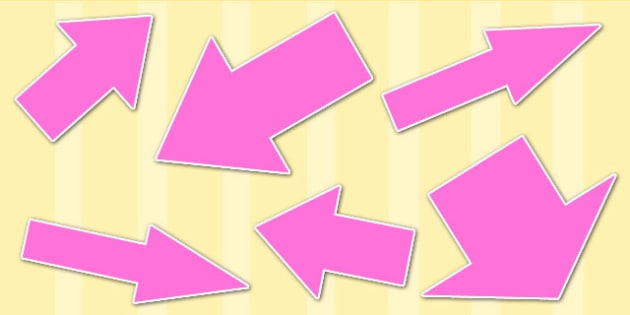 Pink Directional Arrows Cut Outs - pink directional arrows, cut outs, directional arrows, directional arrow cut outs, directional arrows worksheet
