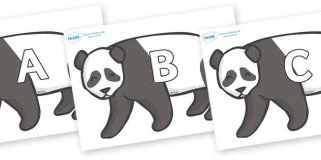 A-Z Alphabet on Pandas - A-Z, A4, display, Alphabet frieze, Display letters, Letter posters, A-Z letters, Alphabet flashcards