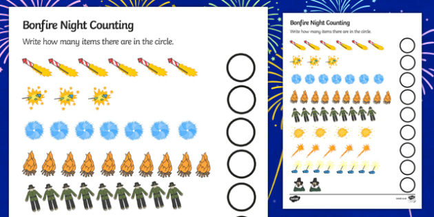Bonfire Night Counting Sheet - Bonfire Night Counting Sheet, bonfire night, bonfire, Guy Fawkes, bonfire, Counting Sheet, child development, children activities, kids, math games, worksheets, number work, home school, themed, Houses of Parliament, pl