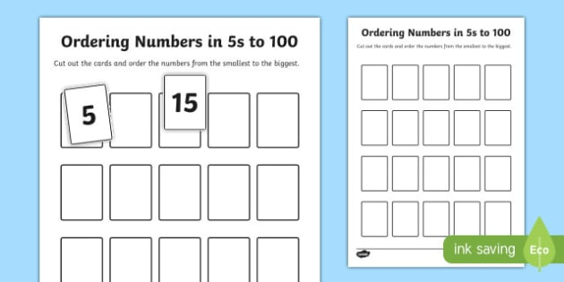 Ordering Numbers in 5s to 100 Activity