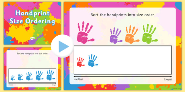 Handprint Size Ordering Activity - handprint, size ordering, powerpoint, activity