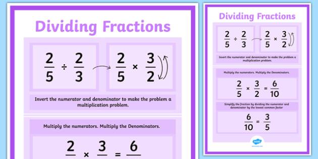 Dividing Fractions Display Poster - maths, numeracy, display, visual aid, ks2, junior, numerator, denominator, fraction, less than, decimal, whole