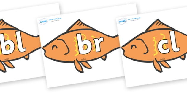 Initial Letter Blends on Goldfish - Initial Letters, initial letter, letter blend, letter blends, consonant, consonants, digraph, trigraph, literacy, alphabet, letters, foundation stage literacy