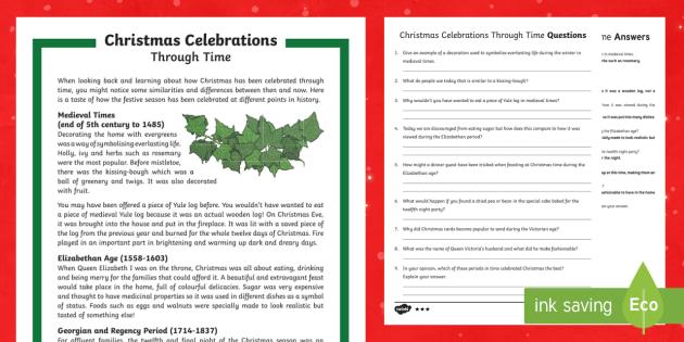 KS2 Christmas Celebrations Through Time Differentiated Reading Comprehension Activity - Christmas, Nativity, Jesus, xmas, Xmas, Father Christmas, Santa, history of Christmas.