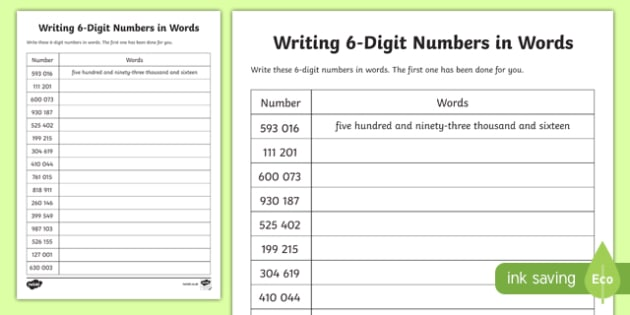 Place Value Writing 6-Digit Numbers in Words. Activity Sheet-Scottish, worksheet