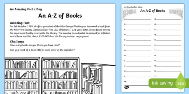 An A-Z of Books Activity Sheet, worksheet
