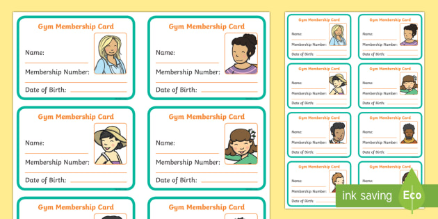 Gym Role Play Membership Card - roleplay, props, sport, pe