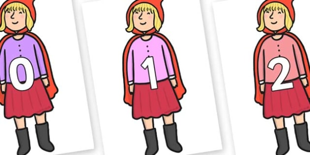 Numbers 0-31 on Red Riding Hood to Support Teaching on The Jolly Christmas Postman - 0-31, foundation stage numeracy, Number recognition, Number flashcards, counting, number frieze, Display numbers, number posters