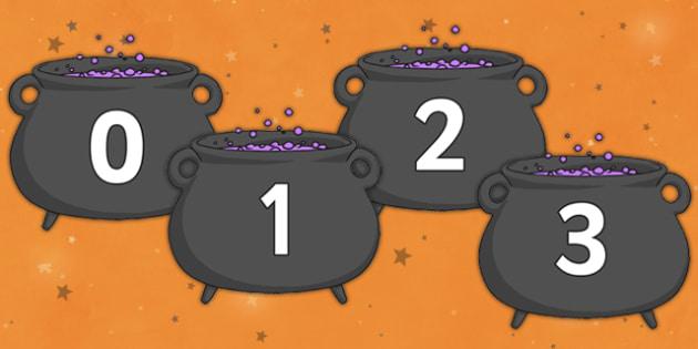 Numbers 0-30 on Cauldrons - numbers, cauldrons, 0-30, maths, display