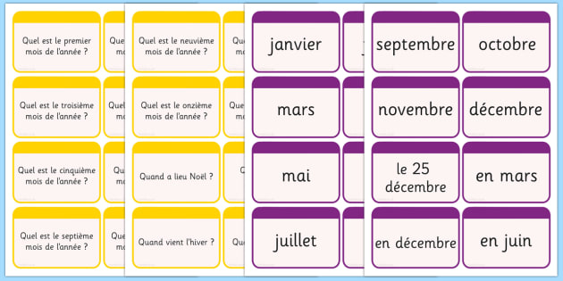 Months of the Year Flashcards French - french, months, year, flash cards