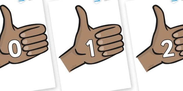 Numbers 0-31 on Thumbs Up - 0-31, foundation stage numeracy, Number recognition, Number flashcards, counting, number frieze, Display numbers, number posters