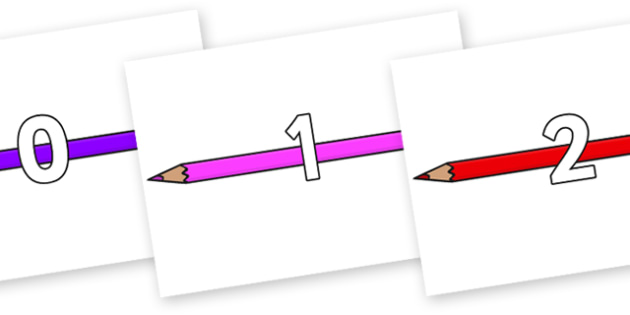 Numbers 0-50 on Pencil Crayon - 0-50, foundation stage numeracy, Number recognition, Number flashcards, counting, number frieze, Display numbers, number posters