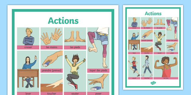 French Actions Word Grid - french, word grid, actions, word, grid