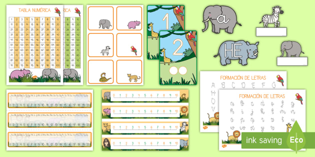 Decoración de la clase:  La jungla - animales, salvajes, mono, elefante, hipopótamo, guepardo, cocodrilo, cebra, jirafa, rinoceronte, se