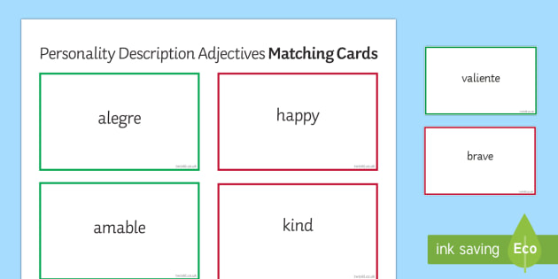 Adjectives for Personality Description Matching Cards Spanish