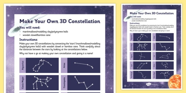 Make Your Own 3D Constellation - stars, constellations, 3-D, space, astronomy, make