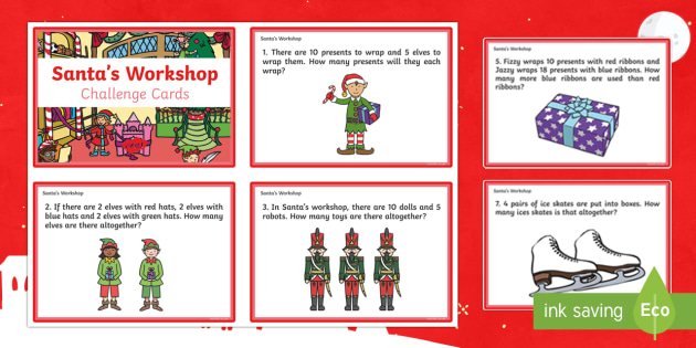 KS1 Santa's Workshop Challenge Cards - Christmas, Nativity, Jesus, xmas, Xmas, Father Christmas, Santa, maths challenge, maths cards, Santa
