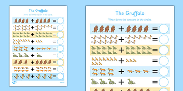 The Gruffalo Addition Activity Sheet up to 20 - the gruffalo, addition, activity, worksheet