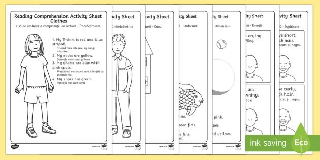 Reading Comprehension Activity Sheets English/Romanian