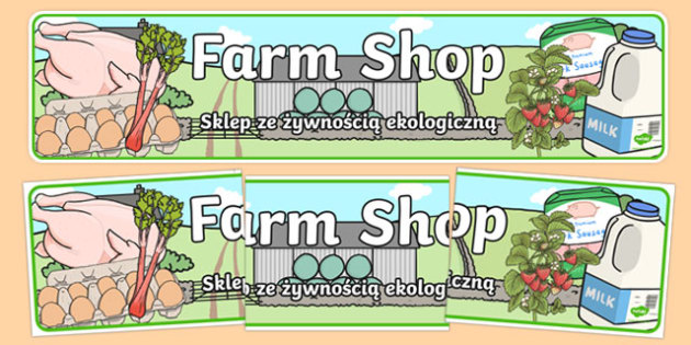 Farm Shop Banner Polish Translation - polish, Farm Shop Role Play, banner, farm shop resources, farm, milk, cheese, eggs, till, animals, meat, cheese, living things, butcher, role play, display, poster