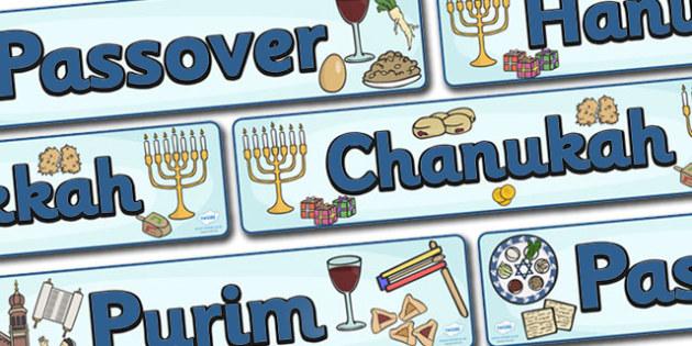 Judaism Celebration Display Banner Pack - Religion, faith, banner, display, sign, synagogue, hannukah, jew, jewish, God, RE, rabbai, judiasm