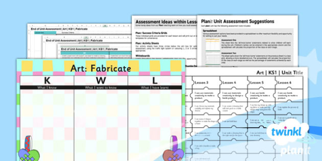 Art: Fabricate KS1 Unit Assessment Pack