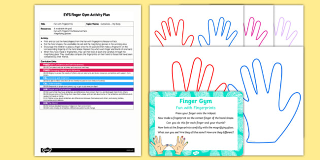 EYFS Fun with Fingerprints Finger Gym Plan and Resource Pack