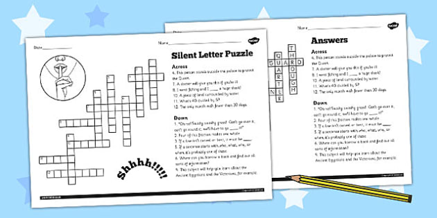 Spell Words with Silent Letters Y3 4 Crossword - crossword, spell