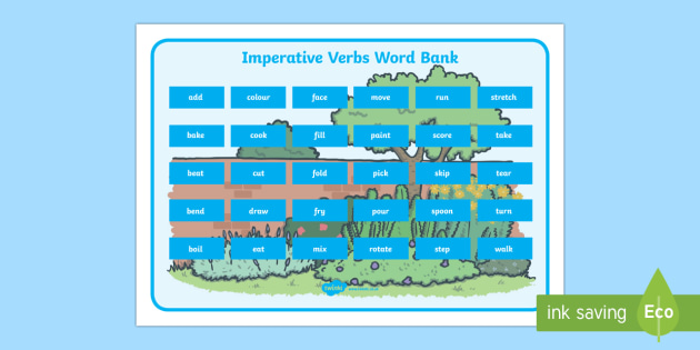 Imperative Verbs Word Bank - spelling bank, imperative verb, verb, spelling