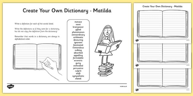 Matilda Key Vocabulary Create Your Own Dictionary