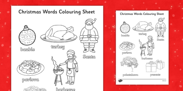 Christmas Words Colouring Sheets NZ - nz, new zealand, christmas, words, colouring, sheets
