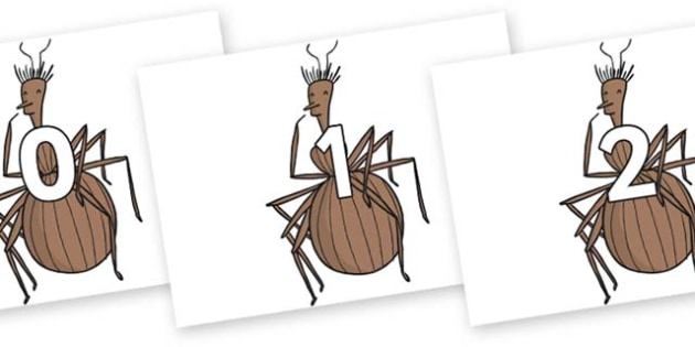 Numbers 0-100 on Miss Spider to Support Teaching on James and the Giant Peach - 0-100, foundation stage numeracy, Number recognition, Number flashcards, counting, number frieze, Display numbers, number posters