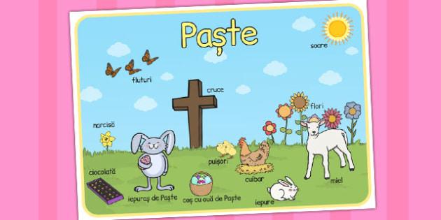 Imagini de Paste, plansa de cuvinte, A 4, Romanian