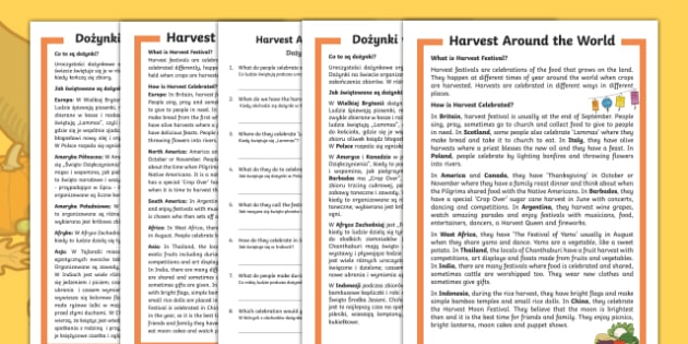 Harvest around the world differentiated reading comprehension activity Polish Translation-Polish-translation