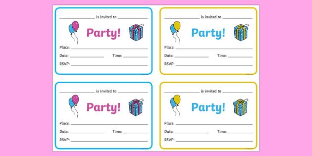 Birthday Party Invitations - Birthdays, birthday party, party invitation, invitations, party food, cake, balloons, happy birthday, birthday role play