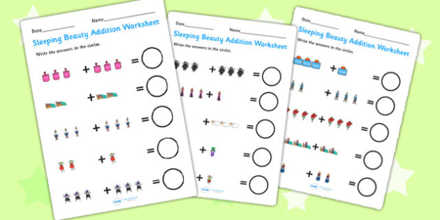 Sleeping Beauty Up to 10 Addition Sheets - sleeping beauty, 0-10 addition, addition, addition worksheet, counting and addition, counting, numeracy, adding
