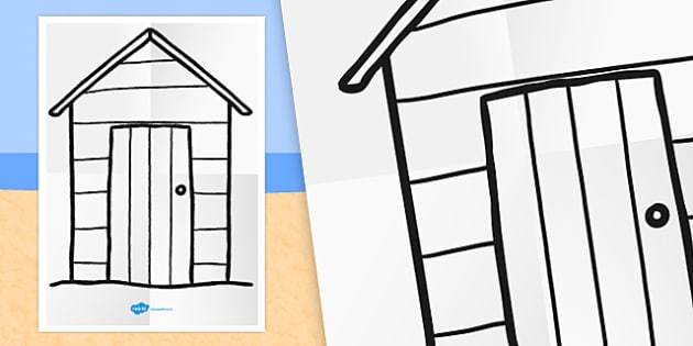 large seaside themed beach hut colouring template seaside - Colouring Template