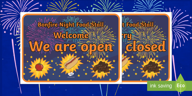 Bonfire Night Food Stall Role Play Signs